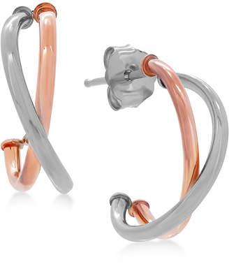 Macy's Crisscross J-Hoop Earrings in 10k White/Rose Gold, Rose Gold, White Gold or Gold, 1/2 inch