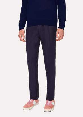 Paul Smith Men's Slim-Fit Dark Navy Linen Pants