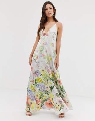 Asos Design DESIGN maxi cami satin trapeze dress in meadow floral print