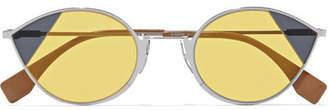 Fendi Cat-eye Silver-tone Sunglasses - Yellow