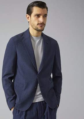 Giorgio Armani Soft Jacket In Seersucker