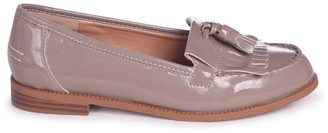 fe85aae7417 Linzi Rosemary Concrete Faux Patent Leather Classic Slip On Loafer