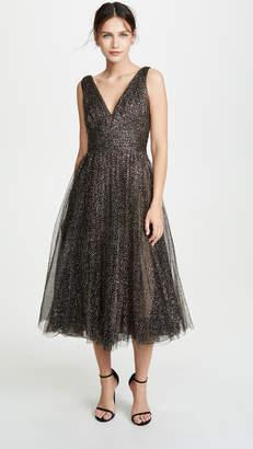 Marchesa Glitter Tulle Tea Length Gown