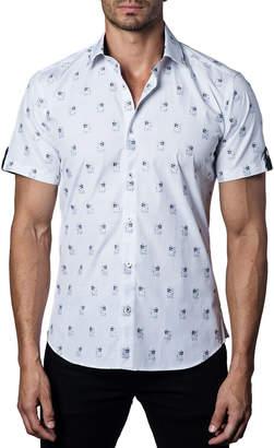 Jared Lang Men's Semi-Fitted Sunglasses-Dog Print Short-Sleeve Sport Shirt