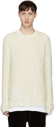 Song For The Mute Off-White Distressed Alpaca Sweater