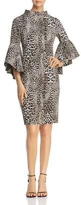 Badgley Mischka Bell Sleeve Leopard Print Sheath Dress