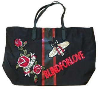 Ah!dorned BLACK NYLON STRIPE BLIND FOR LOVE PATCH TOTE