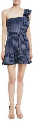 Alexis Konner One-Shoulder Striped Mini Dress