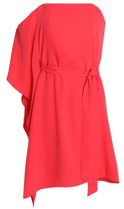 Halston Asymmetric Belted Crepe Dress