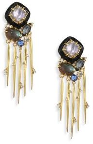Alexis Bittar Elements Satelite Spiked Tassel Clip-On Earrings $325 thestylecure.com