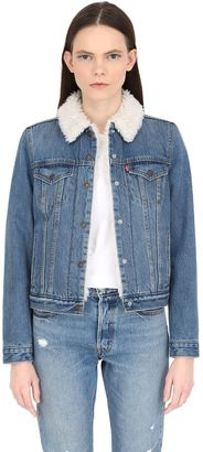 Faux Shearling & Cotton Denim Jacket $157 thestylecure.com