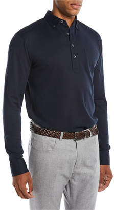 Peter Millar Men's Avon Silk-Cotton Long-Sleeve Polo Shirt