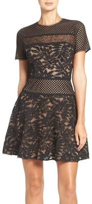 Women's Bcbgmaxazria Lace Knit Fit & Flare Dress $368 thestylecure.com