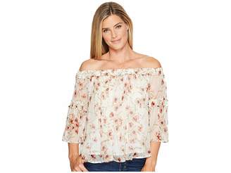 Lucky Brand Shirred Off Shoulder Top Women's Short Sleeve Pullover