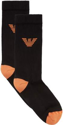 Emporio Armani Ribbed Stretch Cotton Socks (Pack of 2)