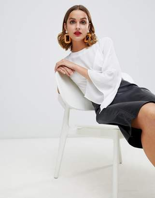 Warehouse blouse with flute sleeves in ivory