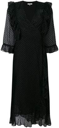 Ganni polka dot ruffled wrap dress