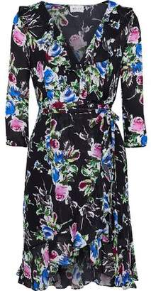 d1779b69a82 Milly Audrey Floral-print Silk Crepe De Chine Mini Wrap Dress