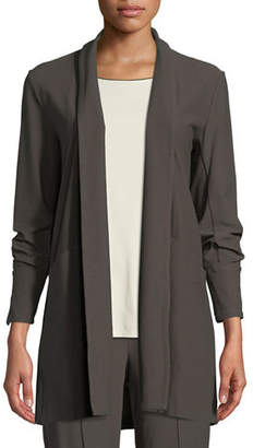 Eileen Fisher Stretch-Crepe Open-Front Long Jacket, Plus Size
