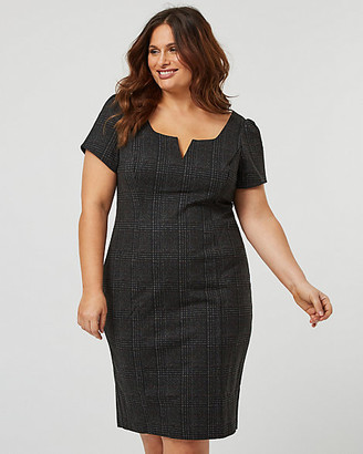 Le Château Check Print Ponte Knit Shift Dress
