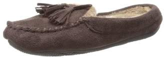 Isotoner Women's Microsuede Hoodback Moccasin with Faux Fur (Medium/6.5-7.5)