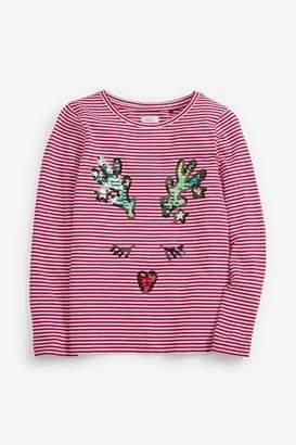 Next Girls Stripe Sequin Reindeer Christmas Long Sleeve T-Shirt (3-16yrs) - Red