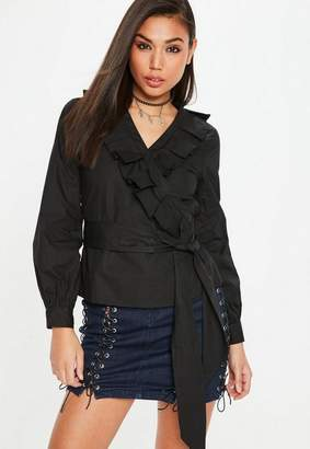 Missguided Black Frill Wrap Shirt