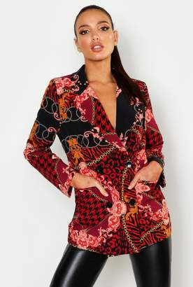 boohoo Mixed Chain Print Suit Jacket
