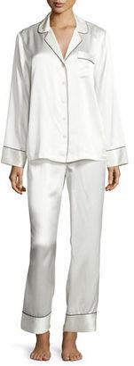 NM INTIMATES Silk Satin Two-Piece Pajama Set $190 thestylecure.com