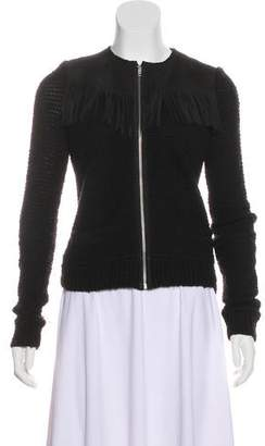 The Kooples Fringe-Accented Zip-Up Cardigan