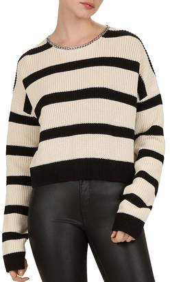 The Kooples Chain-Trimmed Striped Sweater