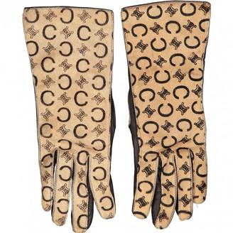 Celine Beige Leather Gloves