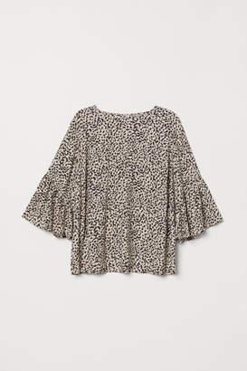 H&M H&M+ Flounce-sleeved Blouse - Beige