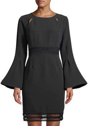 Catherine Malandrino Flare-Sleeve Open-Stitch Sheath Dress