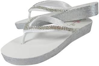 dc341c3c6 Bow Flip Flops Diamond 3.5 inch Rhinestone High Wedge Flip Flops Sandals  with Glitter Heel-