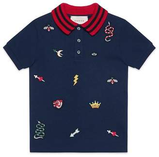 Gucci Children's polo with symbols embroidery