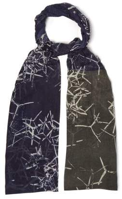 Title Of Work - Printed Cotton And Linen Blend Scarf - Mens - Navy