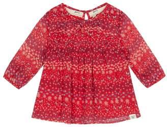 Mantaray Girls' Red Floral Print Frilled Yoke Blouse