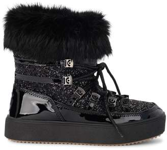 Chiara Ferragni Flirting Eyes Black Leather And Glitter Apres-ski Boots
