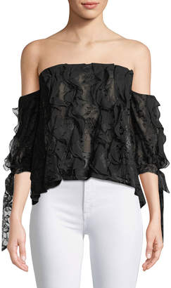 Sachin + Babi Golden Floral Lace Strapless Top