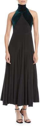 Haider Ackermann Velvet High-Neck Sleeveless A-Line Cocktail Dress