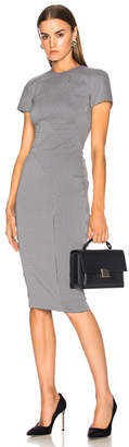 Victoria Beckham Graphic Houndstooth Paneled Fitted Midi Dress