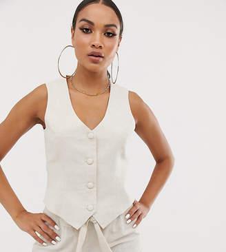 UNIQUE21 linen suit vest two-piece