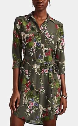 L'Agence Women's Stella Cheetah-Print Silk Shirtdress - Green
