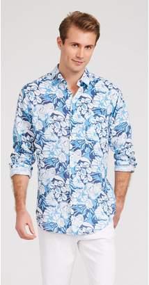 J.Mclaughlin Gramercy Classic Fit Linen Shirt in Mini West Pond