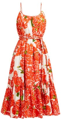 Rhode Resort Lea Floral Print Tiered Cotton Poplin Dress - Womens - Red White