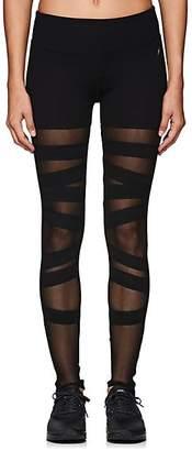 Electric Yoga WOMEN'S MESH-INSET COTTON-BLEND LEGGINGS - BLACK SIZE S