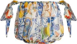 Dolce & Gabbana Majolica-print silk-chiffon off-the-shoulder top