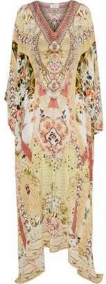 Camilla Miranda's Diary Crystal-Embellished Printed Silk Maxi Dress