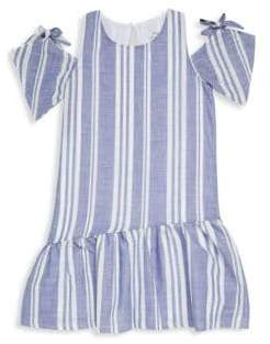 Pinc Premium Girl's Striped Cotton Cold-Shoulder Dress